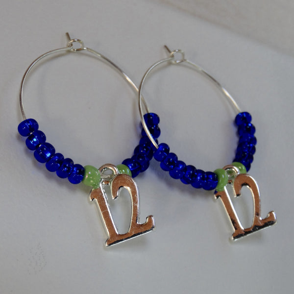 Blue and Green Lady 12 Hoop Earrings