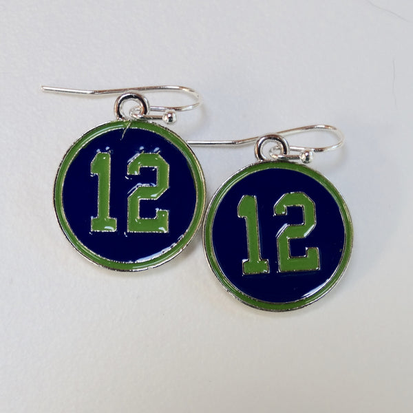 Blue and Green Enamel 12th Man Earrings - Seahawks