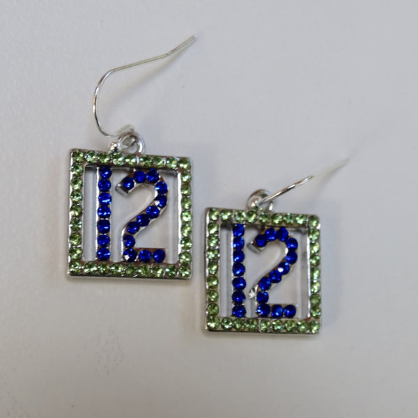 Blue and Green Rhinestone Lady 12 Earrings