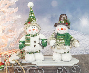 ARCTIC EMERALD SNOWMAN STANDER- WITH KNITTED SNOW HAT