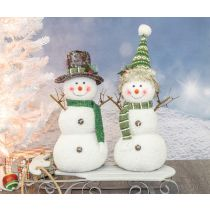 ARCTIC EMERALD SNOWMAN TABLETOP- KNITTED SNOW CAP