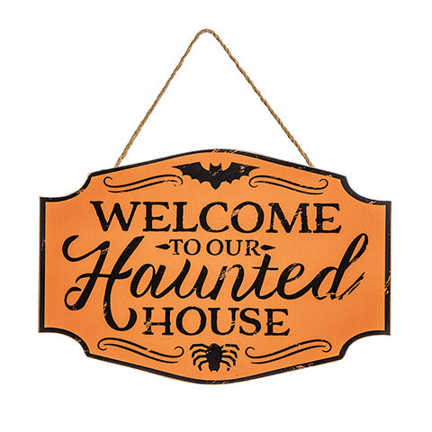 Haunted House Halloween MDF Sign, 10.5 x 7 inches
