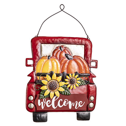 Metal Welcome Sign with Red Truck, 11 x 13 inches