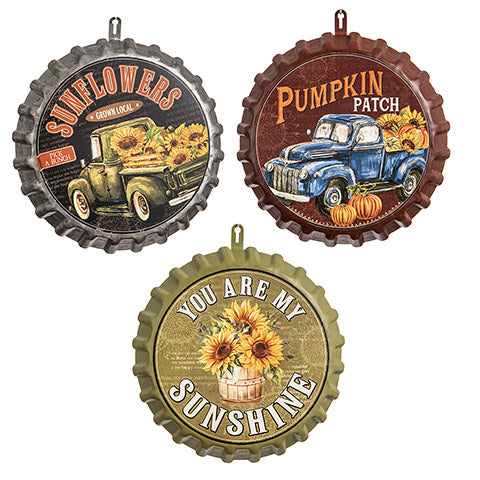 Fall-Themed Bottle Cap Wall Art Assortment - Sunflowers
