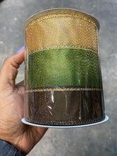 "Load image into Gallery viewer, 4""x10YD GOLD/GREEN/BROWN LINED RIBBON"