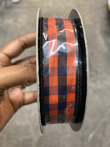 "D. Stevens- 1""x 10YD BLACK AND ORANGE TAFETTA CHECK"