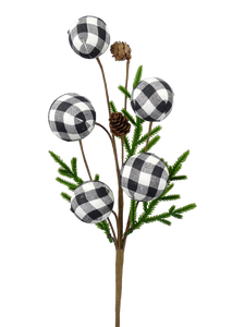 Gingham Ball Pinecone Pick H18