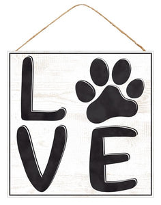 "10""Sq Love W/Paw Print Wall Plaque"