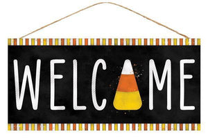 "12. 5""L X 6""H WELCOME CANDY CORN SIGN"