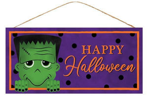 "12. 5""L X 6""H HAPPY HALLOWEEN FRANKENSTEIN SIGN"