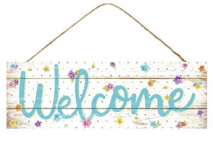 "15""L X 5""H Welcome Flower Sign"