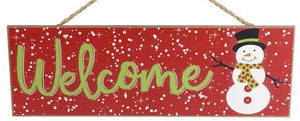 "15"" Snowman Welcome Sign"