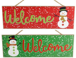 "15""LX5""H MDF WELCOME SNOWMAN SIGN- Green"
