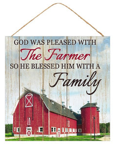 "10""Sq Farmer Blessed W/Family"