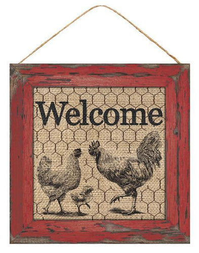 10 inch SQ WELCOME SIGN W/ROOSTER/CHICKEN