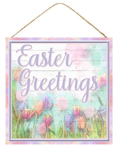 10 IN SQ MDF EASTER GREETINGS/TULIP SIGN