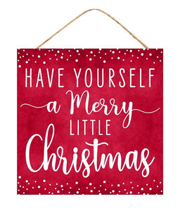 "10""Sq Merry Little Christmas Sign"