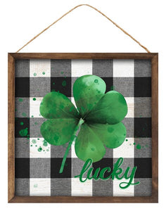"10""Sq Lucky Shamrock Sign"