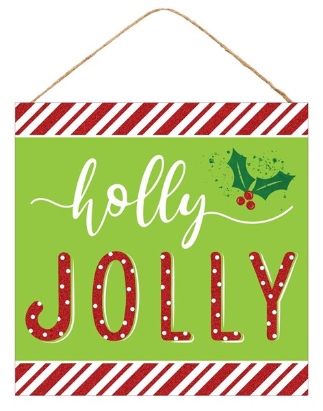 10 inch Sq Holly Jolly Sign