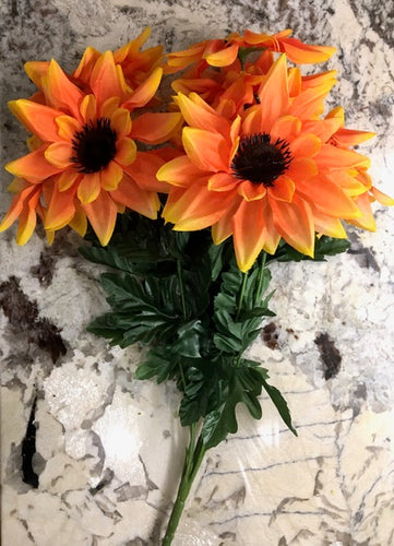 18 IN ORANGE SUNFLOWER BUSH X 9