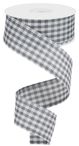 "1.5"" Grey and White Gingham Check Ribbon"