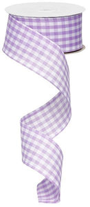"1.5"" Lavender and White Gingham Check Ribbon"