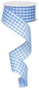 "1.5"" Blue and White Gingham Check Ribbon"
