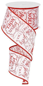 "2.5""X10yd CHRISTMAS SAYINGS- Red and white"