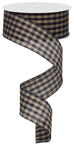 "1.5"" Navy Blue and Tan Primitive Gingham Check Ribbon"