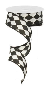 "1.5"" Black and White Harlequin Ribbon"