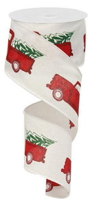 "2.5""x 10YD RED TRUCK W/ TREE ON WHITE ROYAL"