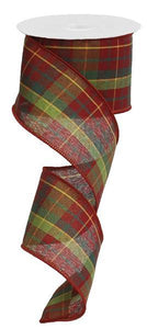 "2.5""x10YD RED/GREEN CHECK PLAID ON ROYAL"
