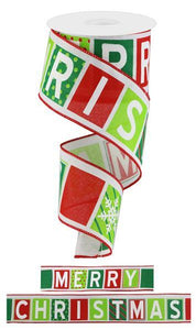 "2.5""x 10YD MERRY CHRISTMAS BLOCK LETTERS"