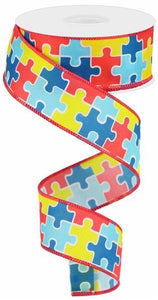 "1.5"" Puzzle Pieces Ribbon"