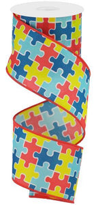 "2.5"" Puzzle Pieces Ribbon"