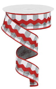 "1.5"" Grey and white check with red Ric Rac"