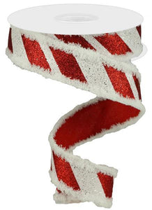 "1.5""X10yd Giant Diagonal Lines/Snowdrift- Red and white"