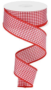 "1.5"" Red and White Mini Gingham Check Ribbon"