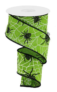 "2.5""X10yd Spiders And Webs On Royal- Green/Black"