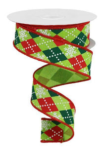 "1.5""X10yd Argyle Snowflakes On Royal- Lime Green/Red/ Green"