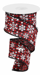 "2.5""X10yd Falling Snow W/Check- Red and black"