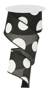 "2.5""X10yd Large Multi Dots- Black/White"