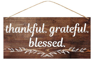 "12""L X 6""H Tin Thankful Grateful Blessed Sign"