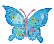 "Load image into Gallery viewer, 11. 5""W 3D Tin Butterfly Wall Hanger- Yellow"