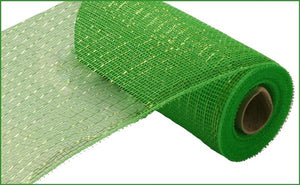 "10""X10yd Metallic Value Mesh- Lime w/ lime foil"