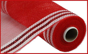 "Red/White 10.25""X10yd Border Stripe Metallic Mesh"