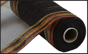 "10.25""X10yd Border Stripe Metallic Mesh"