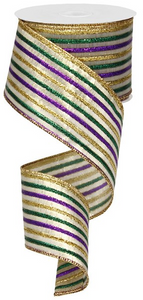 "2.5""X10yd Metallic Stripe-Gold/Purple/Green"