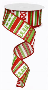 "1.5"" Red and Green loopy striped Ribbon"