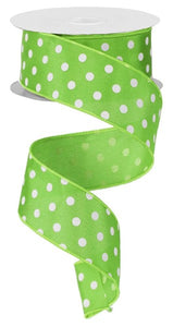 "1.5""X10yd Lime Green Small Polka Dot"